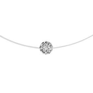 1001 Bijoux - Collier argent rhodié fil nylon petite boule résine strass blancs 42cm pas cher