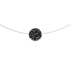 1001 Bijoux - Collier argent rhodié fil nylon boule résine strass noirs 42cm pas cher