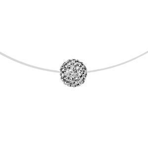1001 Bijoux - Collier argent rhodié fil nylon boule résine strass blancs 42cm pas cher