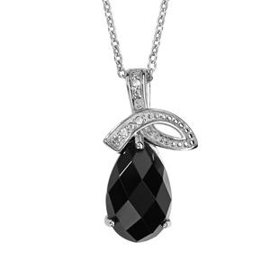 Image of Collier argent rhodié pendentif goutte pierre noire facettes et oxydes blancs sertis 42+3cm