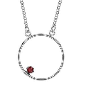 1001 Bijoux - Collier argent rhodié cercle avec pierre rouge 42+3cm pas cher