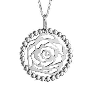 Image of Collier argent rhodié pendentif rose contour dentelle 42+3cm