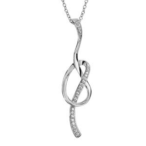 Image of Collier argent rhodié forme boucle avec oxydes blancs sertis 42+3cm