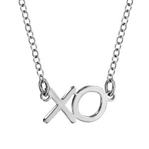 Image of Collier argent rhodié avec découpe XO 42+3cm
