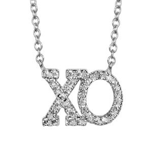 1001 Bijoux - Collier argent rhodié decoupe xo oxydes blancs sertis symbole etreinte et baiser 40+5cm pas cher