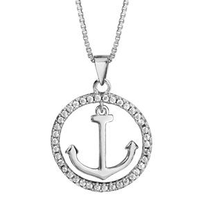1001 Bijoux - Collier argent rhodié ancre marine contour cercle oxydes blancs sertis 42+3cm pas cher