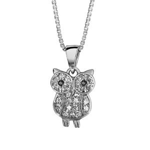 Image of Collier argent rhodié pendentif chouette oxydes blancs sertis 42+3cm