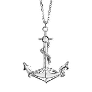 Image of Collier argent rhodié pendentif ancre marine 42+3cm