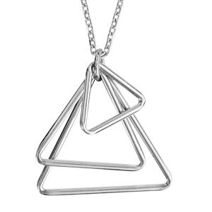 Image of Collier argent rhodié 3 triangles 42+3cm