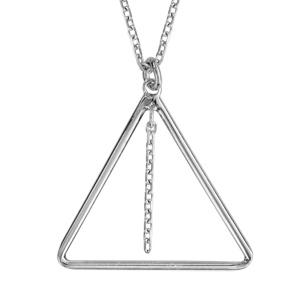 Image of Collier argent rhodié 1 triangle avec chaînette 42+3cm