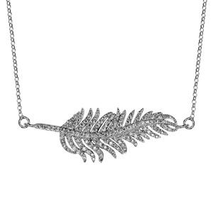 Image of Collier argent rhodié feuille à l'horizontal oxydes blancs sertis 44,5+3cm