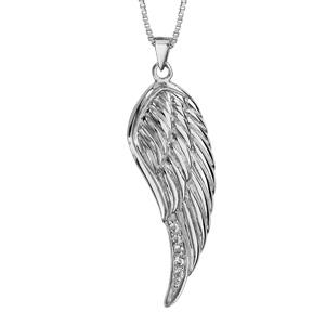 1001 Bijoux - Collier argent rhodié aile d'ange oxydes blancs sertis 42+3cm pas cher