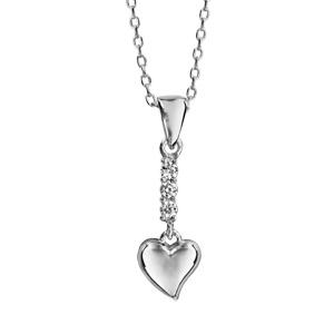 1001 Bijoux - Collier argent rhodié pendentif barrette oxydes blancs et coeur 40+5cm pas cher