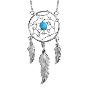 1001 Bijoux - Collier argent rhodié attrape rêve 18mm 1 boule turquoise et plume 40+5cm pas cher