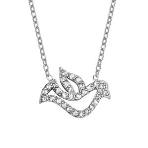 Image of Collier argent rhodié pendentif colombe avec oxydes blancs sertis 42+3cm