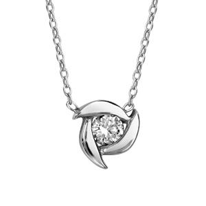 1001 Bijoux - Collier argent rhodié 1 oxyde blanc serti clos 39+3cm pas cher