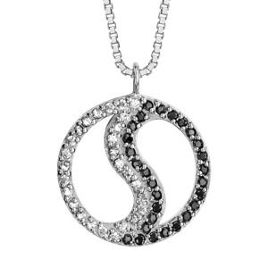 1001 Bijoux - Collier argent rhodié ying yang pierres noires et oxydes blancs sertis 42+3cm pas cher