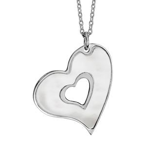 Image of Collier argent rhodié pendentif coeur découpé nacre blanche véritable 40+5cm