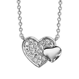Image of Collier argent rhodié double coeur pave oxydes blancs et lisse 40+4cm