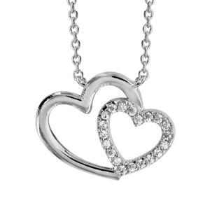 1001 Bijoux - Collier argent rhodié double coeur croisé oxydes blancs 40+4cm pas cher