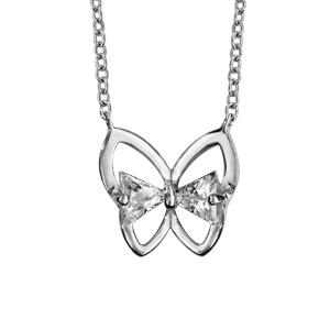Image of Collier argent rhodié papillon oxydes blancs 40+4cm