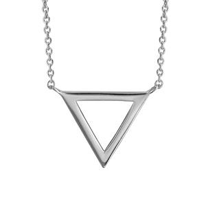 Image of Collier argent rhodié forme triangle évidé diamètre 15mm 40+4cm