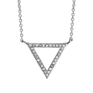 Image of Collier argent rhodié forme triangle évidé oxydes blancs 40+4cm