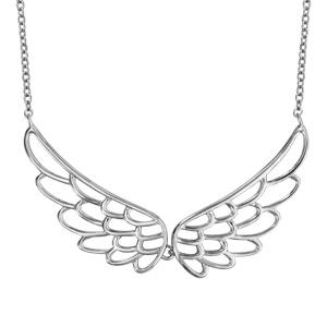 1001 Bijoux - Collier argent rhodié double aile lisse 40+4cm pas cher