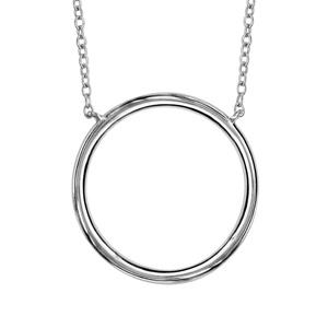 Image of Collier argent rhodié anneau diamètre 20mm 40+4cm