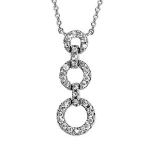 Image of Collier argent rhodié triple anneaux oxydes blancs 40+4cm