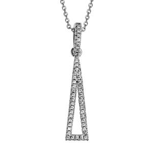 1001 Bijoux - Collier argent rhodié pendantif triangle alonge évidé oxydes blancs 40+4cm pas cher