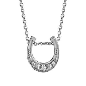 Image of Collier argent rhodié pendentif fer à cheval oxydes blancs sertis 42+3cm
