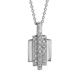 1001 Bijoux - Colleir argent rhodié formes géometriques oxydes blancs sertis 42+3cm pas cher