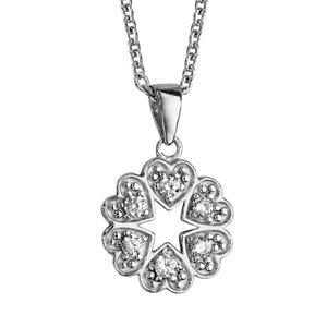 1001 Bijoux - Collier argent rhodié pendentif multi coeurs oxydes blancs sertis 42+3cm pas cher