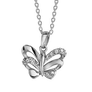 1001 Bijoux - Collier argent rhodié pendentif papillon oxydes blancs sertis 42+3cm pas cher