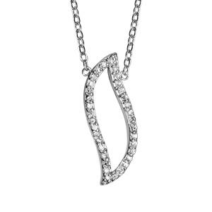 Image of Collier argent rhodié pendentif feuille ajourée oxydes blancs 37+4cm