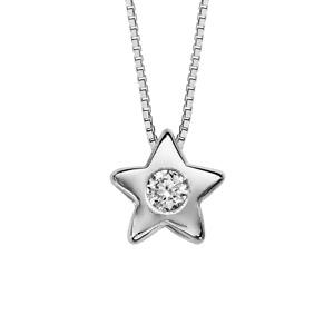 Image of Collier argent rhodié pendentif étoile oxyde blanc serti 41,5cm