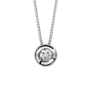 Image of Collier argent rhodié pendentif rond oxyde blanc serti 41,5cm