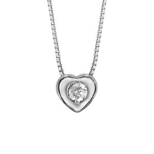 Image of Collier argent rhodié pendentif coeur oxyde blanc serti 41,5cm