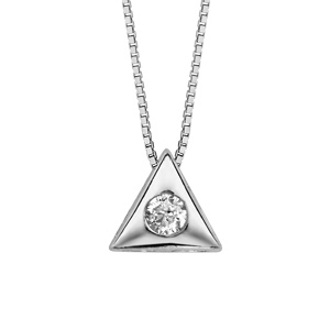 Image of Collier argent rhodié pendentif triangle oxyde blanc serti 41,5cm