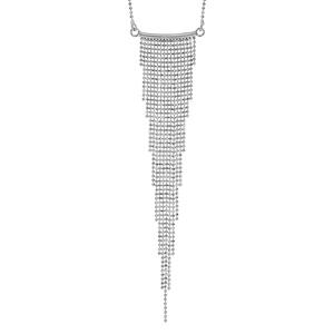 Image of Collier argent rhodié multi chaînettes en dégradé 42+3cm