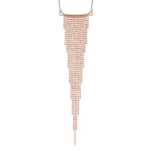 Image of Collier argent rhodié et dorure rose multi chaînettes en dégradé 42+3cm