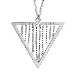 Image of Collier argent rhodié pendentif triangle avec chaînettes 42+3cm