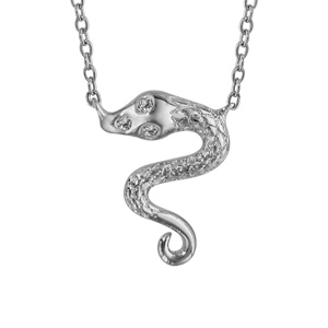 Image of Collier argent rhodié serpent oxydes blancs 40+4cm
