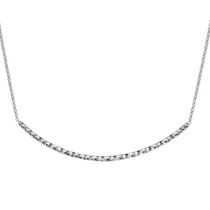 Image of Collier argent rhodié tube cintre diamanté 45,50cm