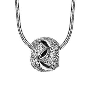 1001 Bijoux - Collier argent rhodié tube rond avec boule diamantée feuilles 40+3cm pas cher