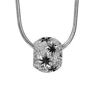Image of Collier argent rhodié tube rond avec boule diamantée étoiles 40+3cm