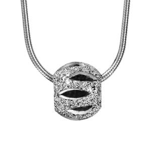1001 Bijoux - Collier argent rhodié tube rond avec boule diamantée ajourée 40+3cm pas cher