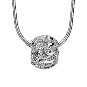 1001 Bijoux - Collier argent rhodié tube rond avec boule diamantée vague 40+3cm pas cher