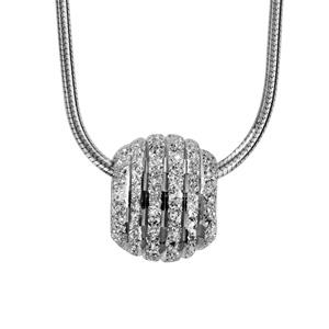 1001 Bijoux - Collier argent rhodié tube rond avec boule diamantée rainures 40+3cm pas cher